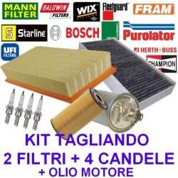 Kit Tagliando 3 Filtri +Candele +Olio Fiat Seicento 900