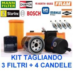 Kit Tagliando 3 Filtri + 4 Candele Fiat Seicento 900