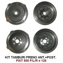 KIT TAMBURI FRENO ANTERIORI E POSTERIORI FIAT 500 F/L/R, 126