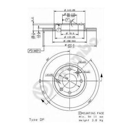 COPPIA DISCHI FRENO 206/C3 1.4Bz/1.4HDi DISCO PIENO mm.247