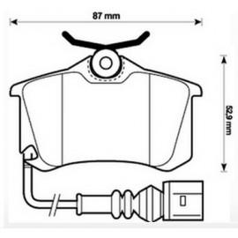 Kit Pastiglie freno posteriori Golf III, IV,V,VI, Audi A1,A2,A3,Passat,Megane II - mm.17 BOSCH C/SPIA