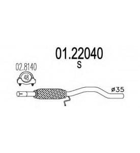 TUBO INTERMEDIO SCARICO CENTRALE 600 1.1cc CON FLESSIBILE mm.35